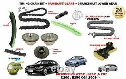 For Mercedes E200 E250 Cgi 2009- Timing Chain Kit + Camshaft Vvt Cam Gears